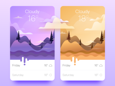 Weather App  weather ui sunny snow interface illustration foggy color cloudy architecture app