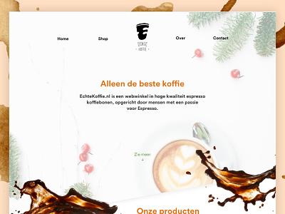 """""""Echte Koffie"""" website design amsterdam utrecht whitespace logo logo unsplash espresso debut landing page sketch design website coffee"""