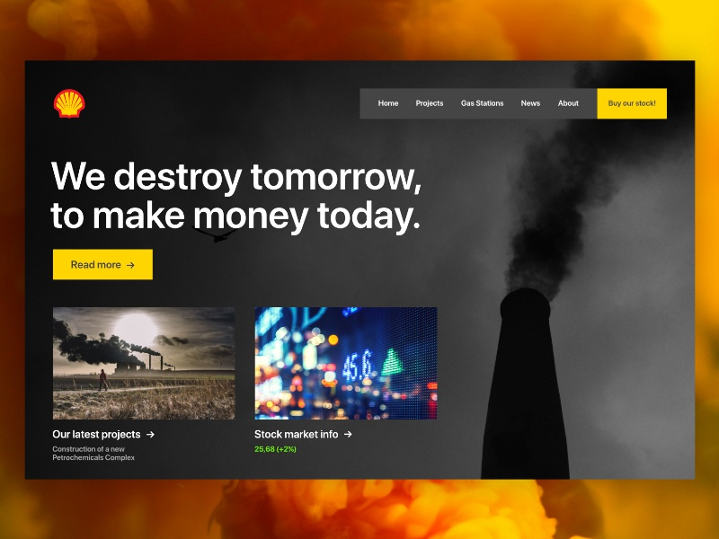 SHELL — REDESIGN climate change climate environment politics landing page landing redesign hell homepage