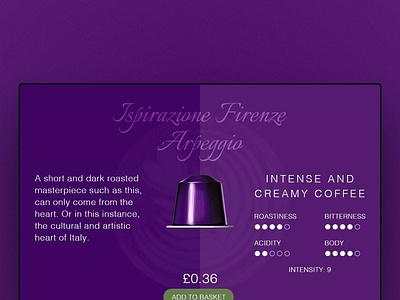 Nespresso Coffee Pod coffee ecommerce websitedesign website webdesign design dailyui