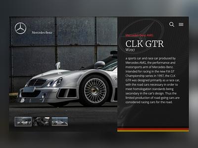 Mercedes CLK GTR mercedes-benz mercedes websitedesign website webdesign design dailyui