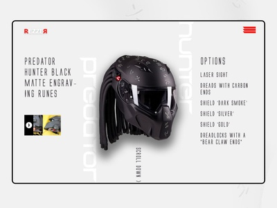 Daily UI - REZZR Predator Helmet websitedesign website webdesign design dailyui