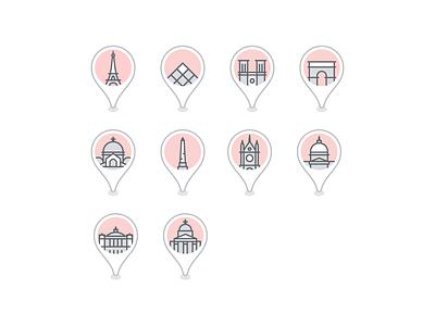 Paris landmark icons france paris vector icons. icon. icon set design material icons google trips icon material design travel illustration google