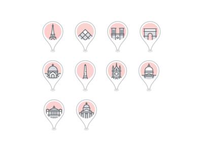 Paris landmark icons