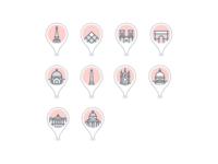 Paris landmark icons france paris vector icons. icon. icon set design material icons google trips icon material design travel illustration google