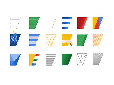 Letter E explorations typography design material design vector e letter branding design branding brand design brand mark logotype logos logo