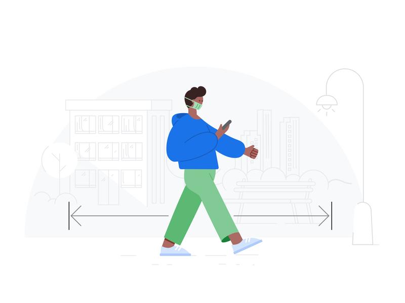 Google Health - Social distancing lockdown walking social distance social distancing face mask mask material epidemic covid-19 virus pandemia vector illustration health care google