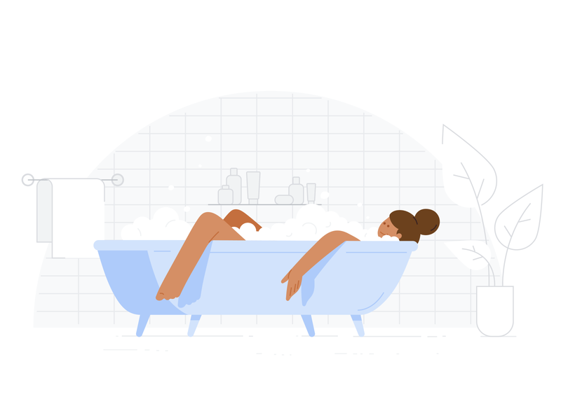 Google Health - Relax at home bath stay at home realx lockdown health google health epidemic sick pandemic covid 19 covid-19 covid19 covid virus vector design material design google illustration