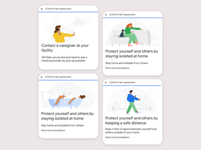 Google Health – Covid-19 self-assessment mask lockdown isolation self-distancing google health pandemia pandemic virus covid 19 covid-19 covid19 covid flat illustration illustrator vector branding ui drawing google illustration
