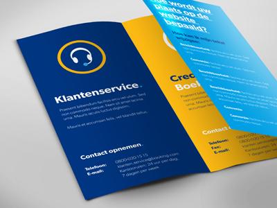 Brochure  brochure mockup client customer customer service contact contacts blue yellow booking.com tri fold