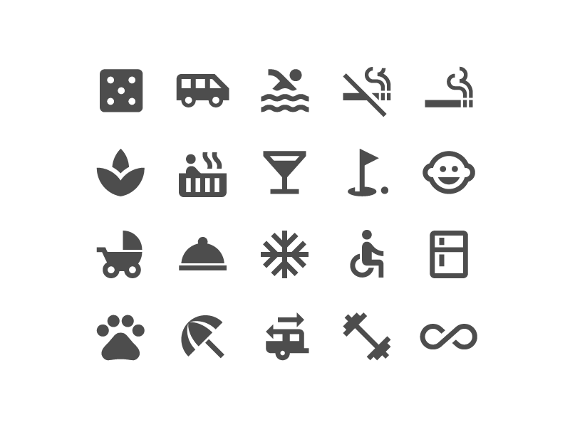 Hotel amenities icon set by German Kopytkov for Google on