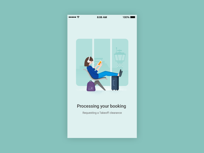Google Flights booking processing book on google booking android material design material illustration google flights google