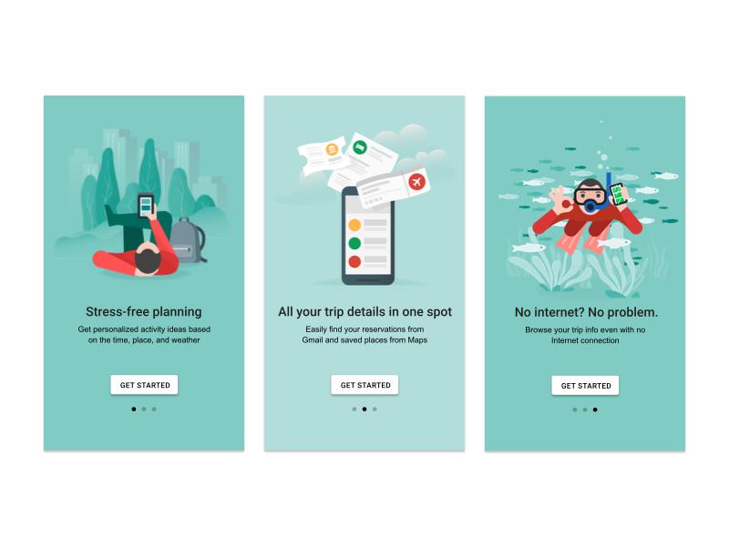 Onboarding, Google Trips by German Kopytkov on Dribbble