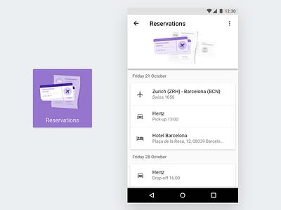 Reservations, Google Trips rent car flight hotel reservations material design illustration travel google trips google