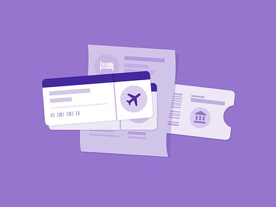 Travel info activity attraction hotel flight tickets reservations material design illustration travel google trips google