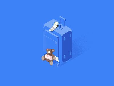 Blue suitcase bar tag tag teddy bear flight travel suitcase