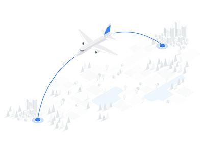 Google flights, one-way flight destination flight airplane travel white on white isometric illustration material illustration drawing illustration google flights google