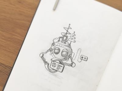 Robot machine. robot. paper. pencil. illustration. drawing. sketch.
