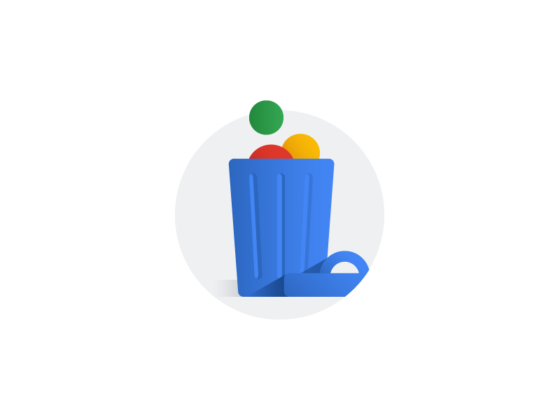 Delete a Google service garbage bin bin garbage trash delete illustration icon account google