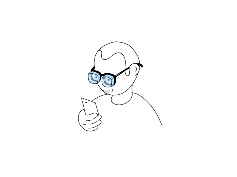 Phones get slimmer, my glasses get thicker phone graphic minimalistic lineart procreate ipad pro pencil drawing sketch illustration