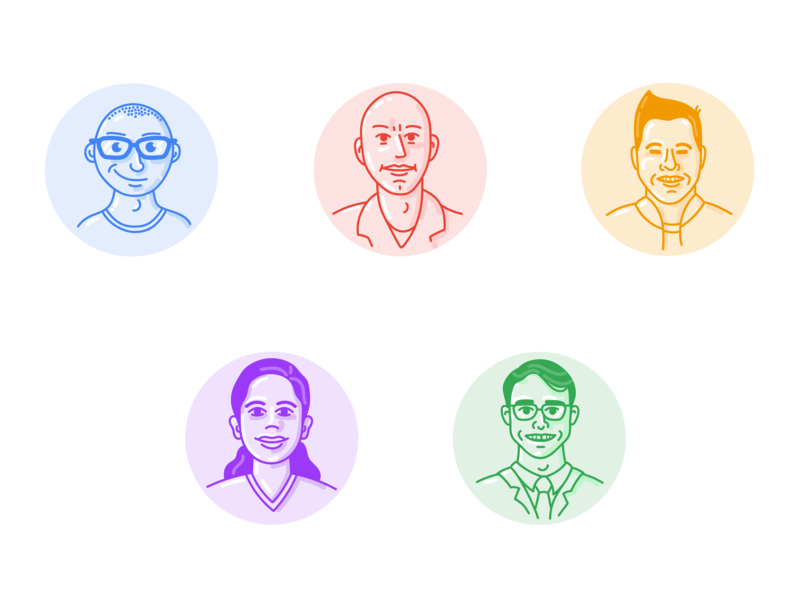 Design team team ui icon lineart face selfportrait portrait caricature profile avatar designers design illustrators illustration