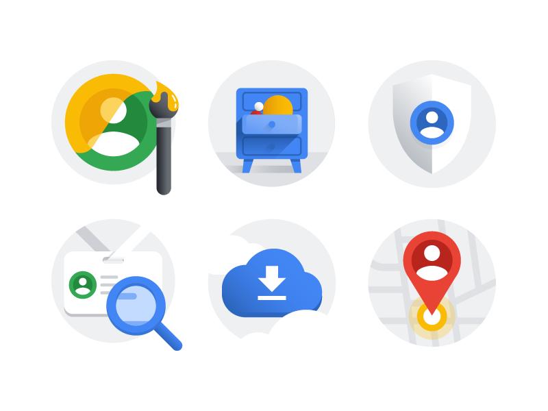 Google Account illustration set privacy account drawing ui icon google illustration