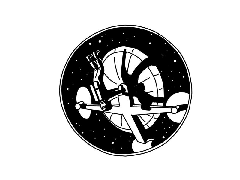 Radar.  2001: A space Odyssey astronaut spaceman radar space odyssey kubrick space cosmos ipad app procreate sketch drawing illustrator illustration doodleart art doodle