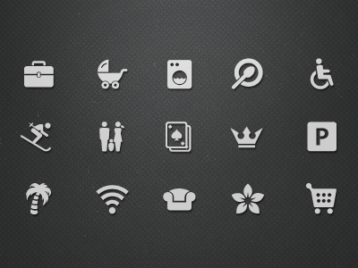 Hotel Facilities Icons (Vol.2)  hotel icon icons todytod kopytkov facilities business center babysitting baby laundry skiing family game room game room vip vip room parking beach private beach continental breakfast free wifi wifi design hotel spa shops at hotel shop shopping booking booking.com