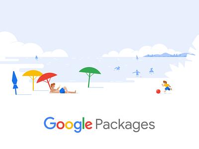 Google Packages branding vector ui design hotel drawing material design travel google illustration