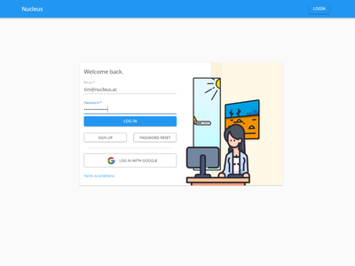 New login screen for Nucleus