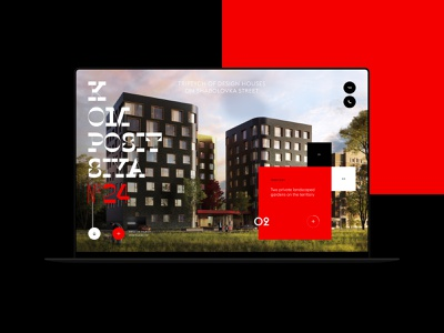 K24. Real Estate Website avantgarde red building real estate house geometric realty property