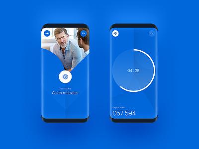 Transact Pro timer blue geometric pattern authenticator app fintech