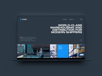 Stord Website Concept shipping container shipping grid logistics storage ux extended flat minimal tile warehouse dark blue