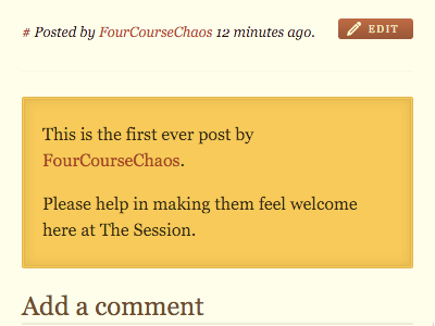 This is the first ever post by FourCourseChaos. Please help in making them feel welcome here at The Session.