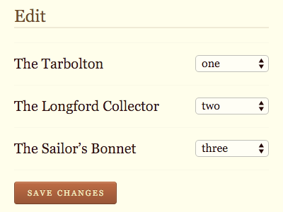 Reordering select form sets the session