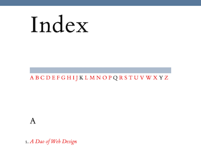 Index book letters typography index
