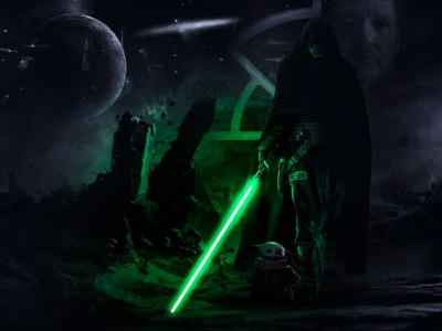 Star Wars - The Mandalorian - Luke & Grogu Digital Art jedi psd shadows highlights luke skywalker grogu mandalorian starwars digital art poster print photoshop editing photomanipulation photoshop digitalart