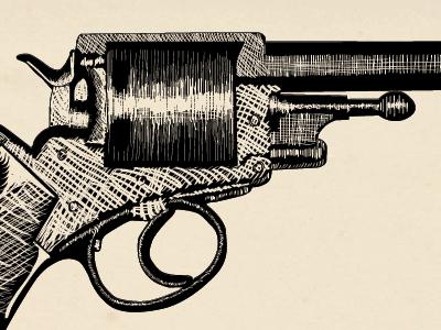 Dr.Watson's Army Revolver woodcut print black gun sherlock holmes