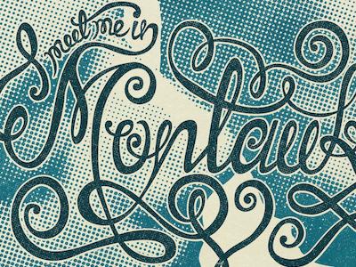 Montauk lettering typography blue halftone swirls quote