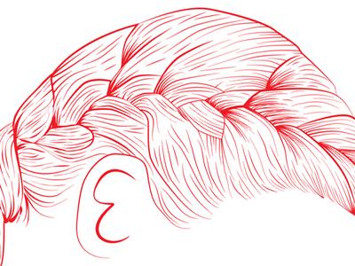 Svh Mh red hair plait braid illustration vector