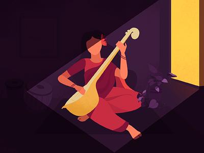 Sitarist ~ lighting contrast india style home saree flat illustration flatdesign sitar light lady tradition indian musician music illustration character