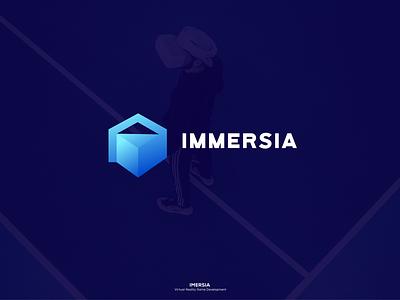 Immersia modern i logo square logo game developer flat negative space minimalist icon branding vr virtual reality