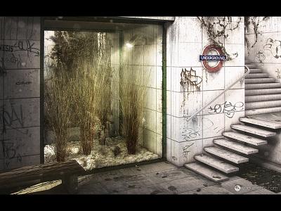 Underground  c4d cinema4d vray exterior underground graffiti