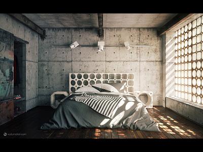 Industrial Bedroom industrial bedroom c4d vray cinema4d
