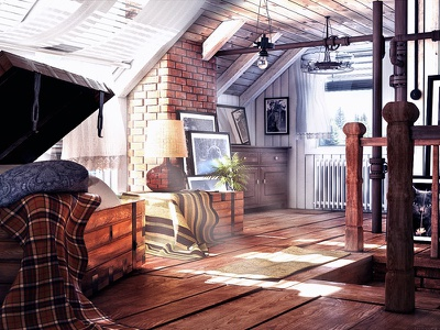 Attic Light c4d cinema4d vray attic light interior