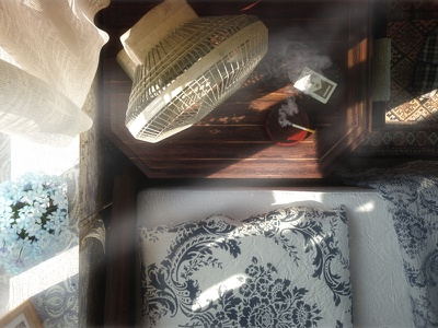 Nasty Habit vray c4d cinema4d hotel room bed fan smoke cigarettes volumetric