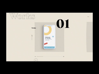 Folio'20 - Works page animation on CSS Design Awards! type ux minimal clean web design website web typography ui design