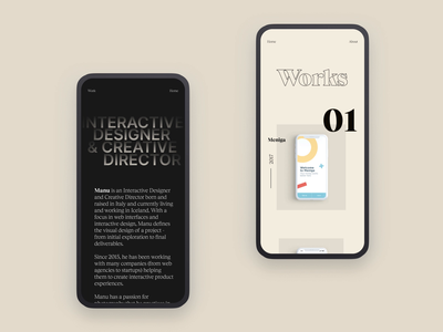 Folio'20 - Project pages animation ux minimal clean web design website web typography ui design