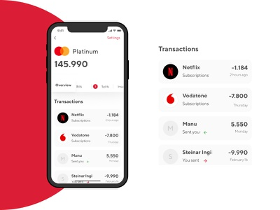 Card detail view payments bank transactions credit card fintech