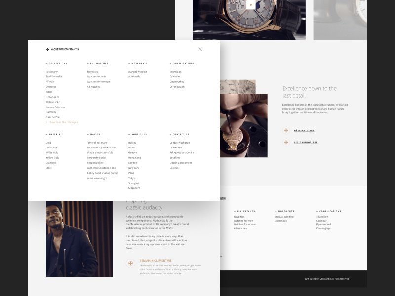 Vacheron Constantin - Page menu product design menu web design branding website web ux ui typography landing page desktop design